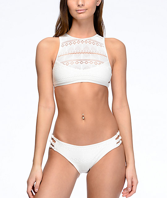 Roxy Drop Diamond Marshmallow White Crochet Bikini Bottom