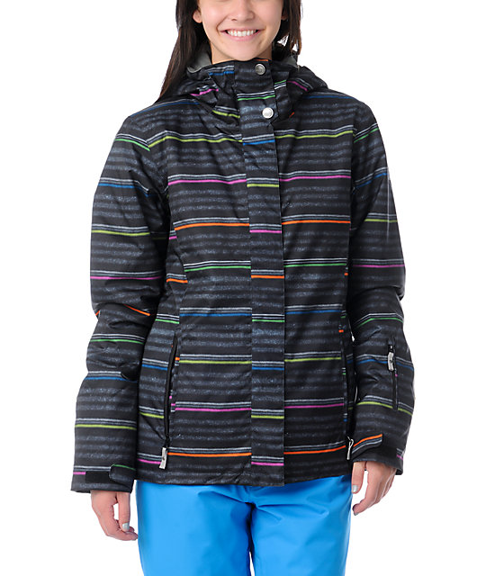 Roxy Jetty Neon Stripe 8K Insulated Snowboard Jacket