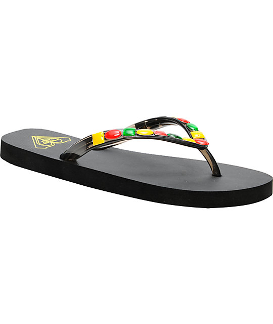 Roxy Jewel Black Rasta Flip-Flop Sandals