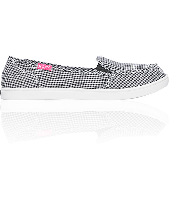 8e931411bdfa Roxy Lido Cruisers Black   White Checkered Pliad Canvas Shoes