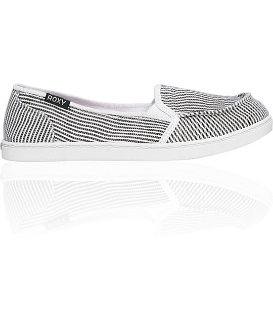 f538cea778d2 Roxy Lido Cruisers Black   White Pinstripe Canvas Shoes