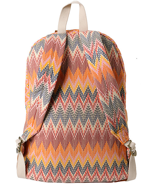 Roxy Long Time Coral Zig Zag Backpack