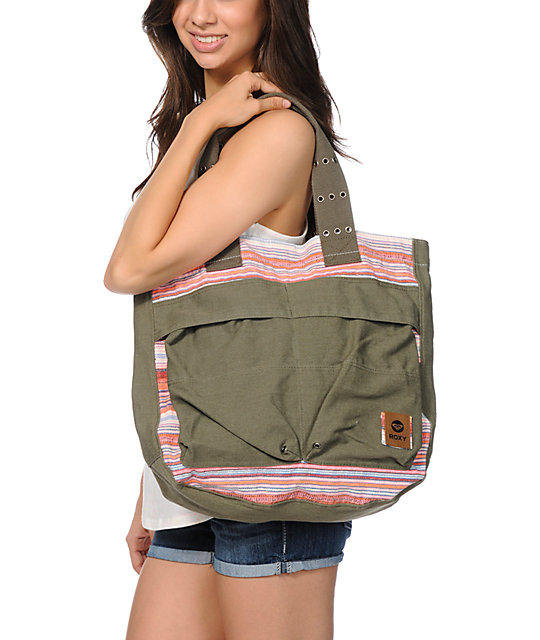 Roxy Making Noise Army Green Tote Bag