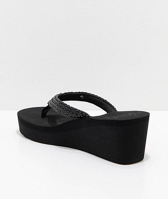 b031d4a9720f19 ... Roxy Mellie Black Wedge Sandals ...