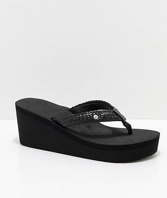 98d61d95269b Roxy Mellie Black Wedge Sandals