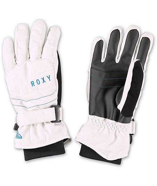 Roxy Mouna White Womens Snowboard Gloves  08c2f71d6