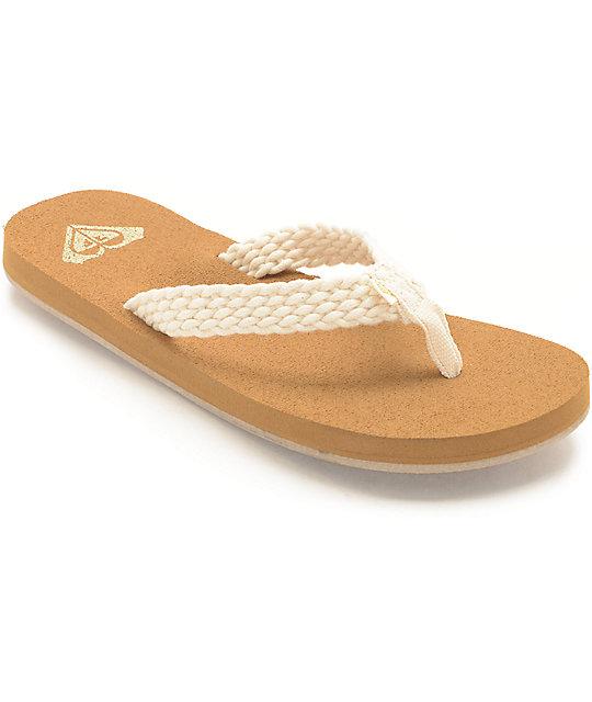 57ecc7b72cc0 Roxy Porto Cream Sandals