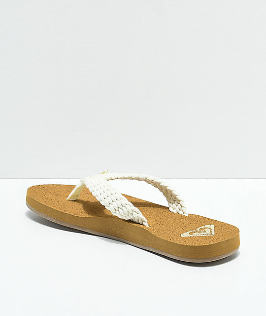 185375ca12134b ... Roxy Porto II Cream Sandals ...