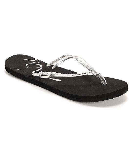 8f81bd038 Roxy Rio II Silver   Black Sandals