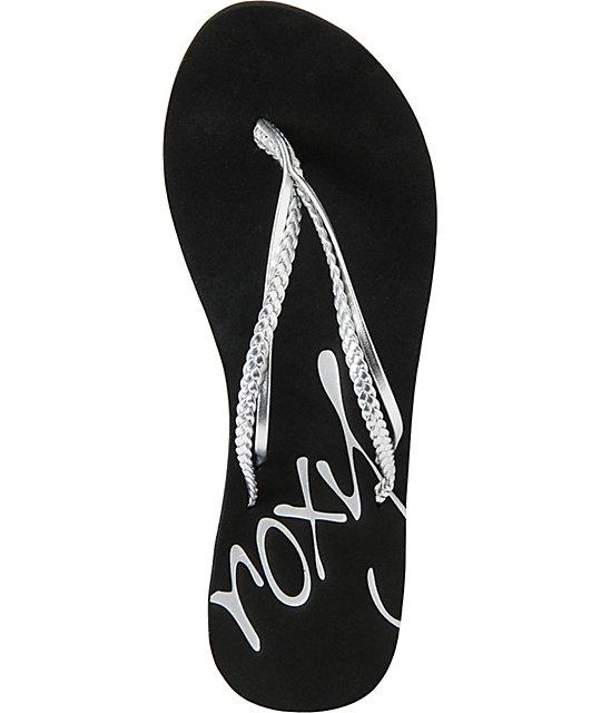 f2437e0b2 ... Roxy Rio Silver Flip Flop Sandals ...