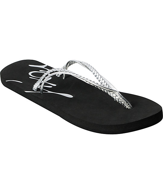359fe9d42 Roxy Rio Silver Flip Flop Sandals
