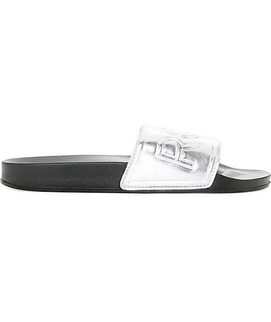 0edd52a9878b ... Roxy Slippy Slide Silver Slide Sandals