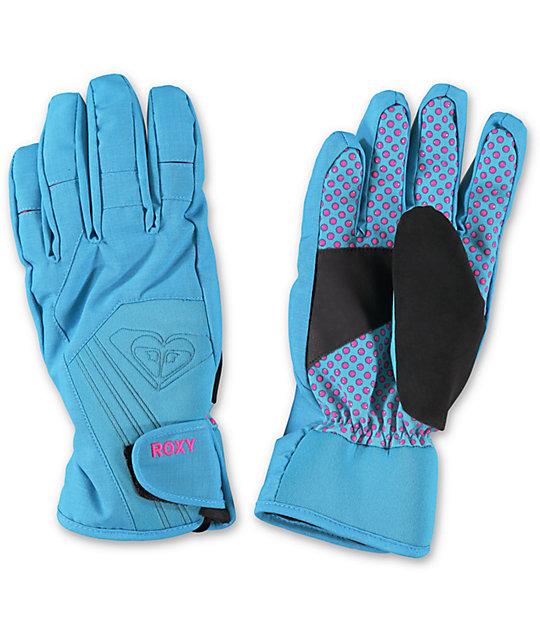 Roxy Tyia Blue Womens Snowboard Gloves  89b78ca22