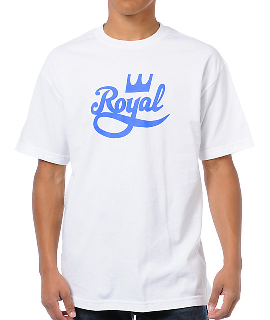 Royal Trucks Crown Script White & Blue T-Shirt