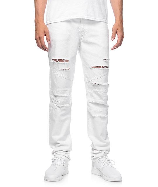 Rustic Dime Biker White Shredded Jeans ...
