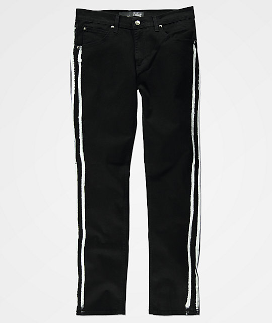 Rustic Dime Black & White Stripe Denim Jeans