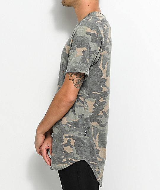 Rustic Dime Camo Washed French Terry Elongated T-Shirt
