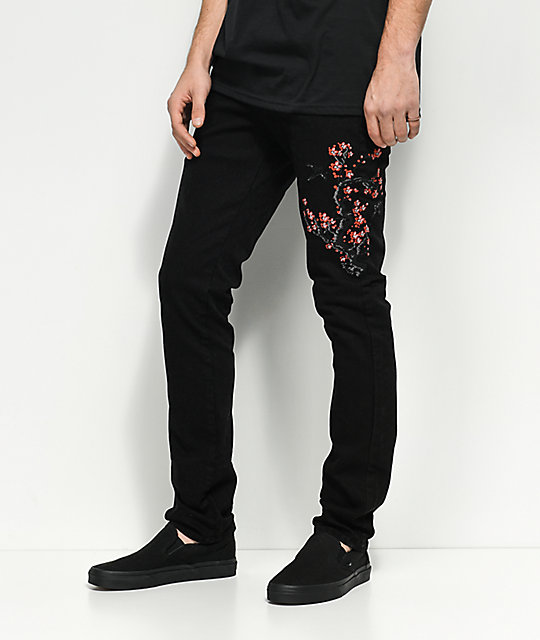 Rustic Dime Cherry Blossom Embroidered Black Jeans