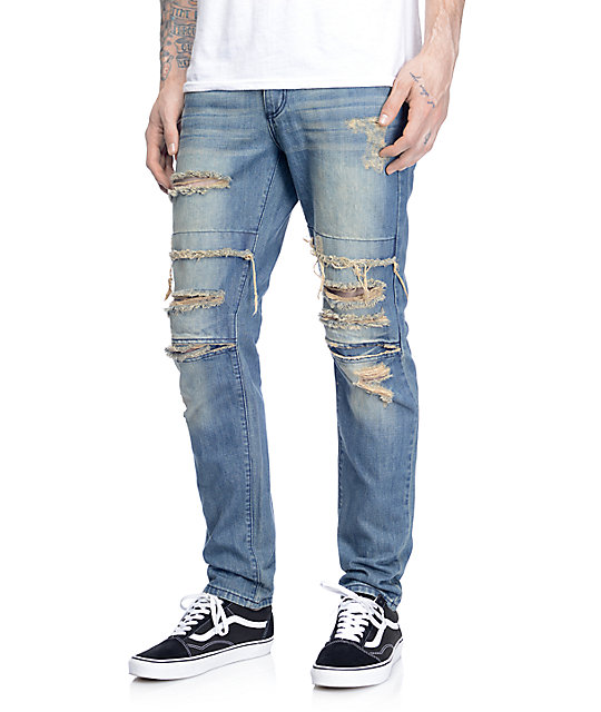 70c33291eb4 Rustic Dime Dirty Ripped Knee Jeans