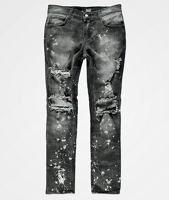 Rustic Dime Knee Blowout Concrete Camo & Black Denim Jeans ...