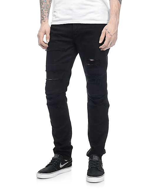 Rustic Dime Knee Seam Ripped Black Jeans