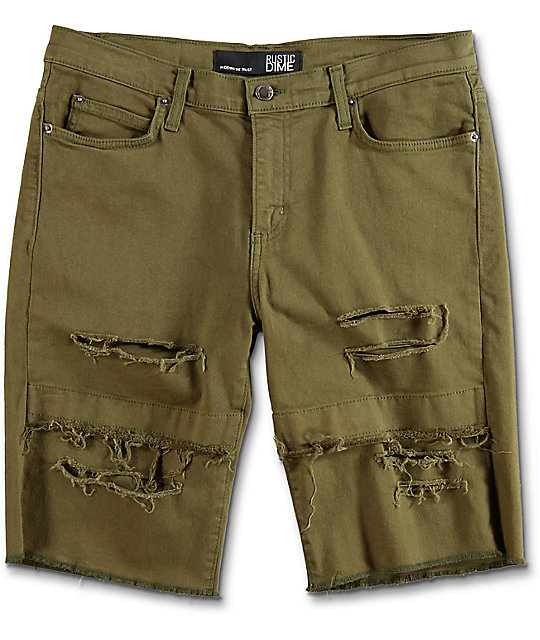 Rustic Dime Olive Destructed Denim Shorts