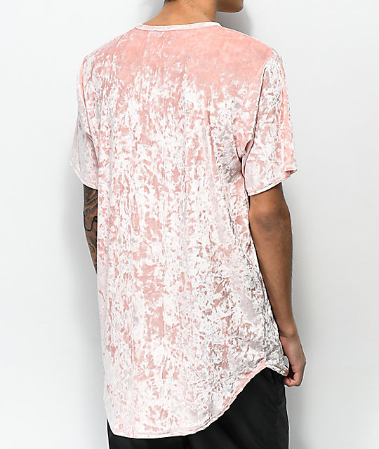 Rustic Dime Pink Velour Elongated T-Shirt