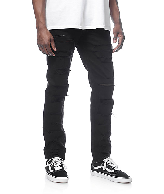 Rustic Dime Shredded Taper Fit Black Jeans