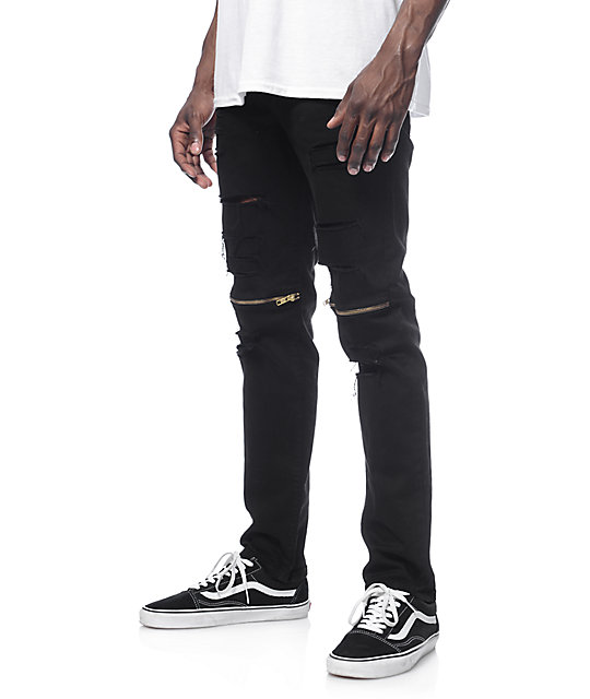 really cheap new arrive release date: Rustic Dime Slice Knee Zip Black Jeans