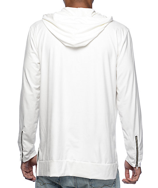 f7ec949d9e Rustic Dime White Suede Hooded Long Sleeve T-Shirt