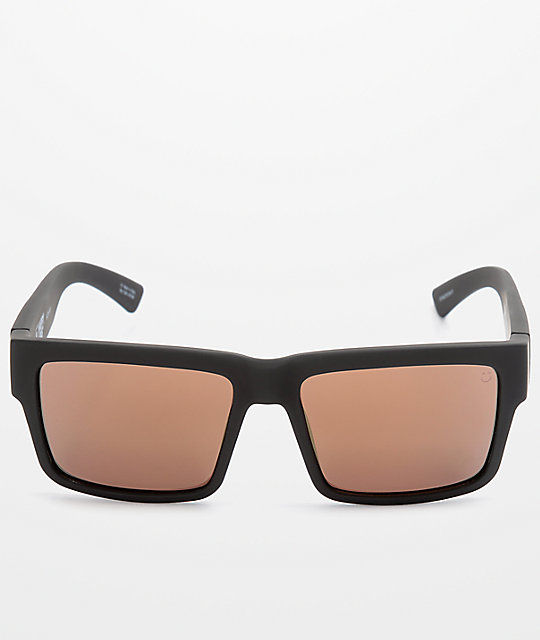 SPY Montana Soft Matte Black & Gold Happy Lens Sunglasses