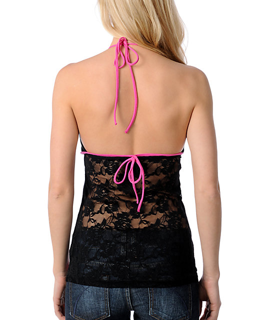 SRH Ace of Lace Black Halter Top