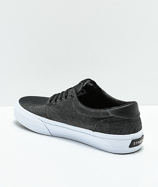 STRAYE Fairfax Black & White Denim Skate Shoes
