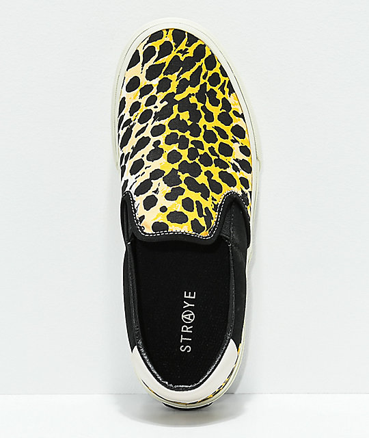 STRAYE Ventura Cheater Leopard Print & White Slip-On Skate Shoes