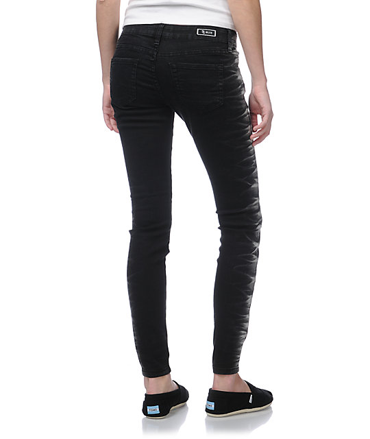 STS Blue Side Tie Leg Black Skinny Jeans