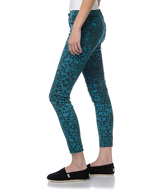 STS Blue Teal Leopard Print Skinny Jeans