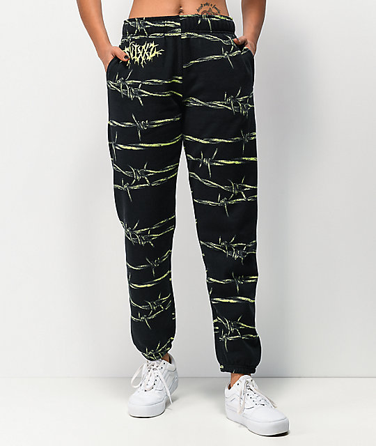 SWIXXZ Entangled Black & Green Jogger Sweatpants