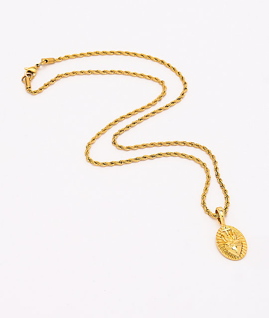 Saint Midas Heart Circle Yellow Gold 20