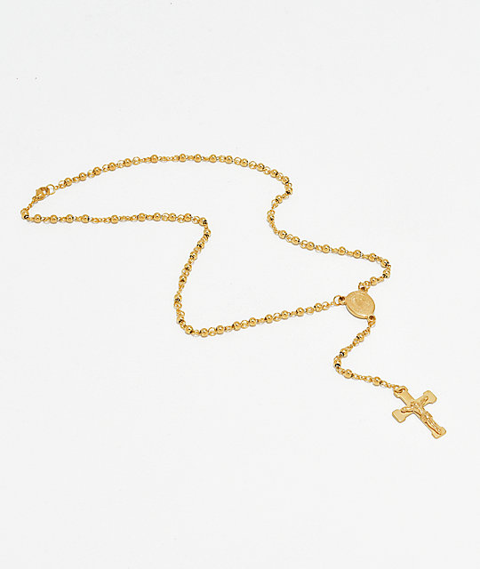 Saint Midas Rosary Gold Necklace