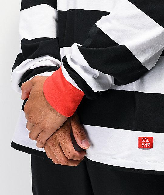 Non Stock Prisoner Blue /& White Striped Long Sleeved Shirt