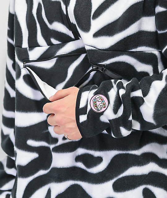 Salem7 Zebra Black & White Tech Fleece Jacket