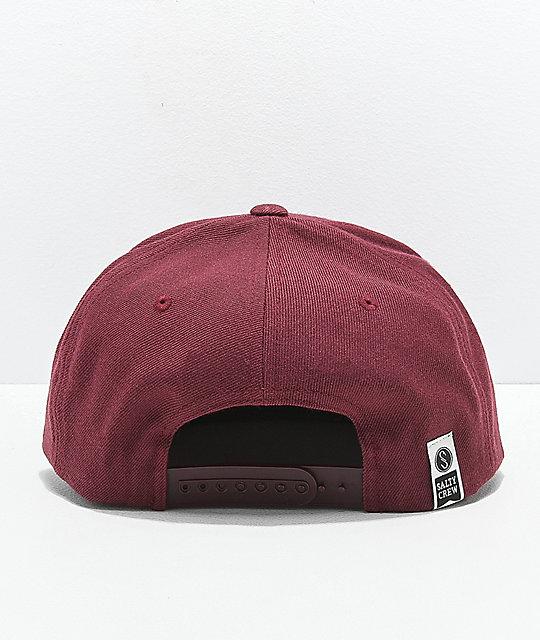 Salty Crew Alpha Stamped Burgundy Snapback Hat  a0198bcde