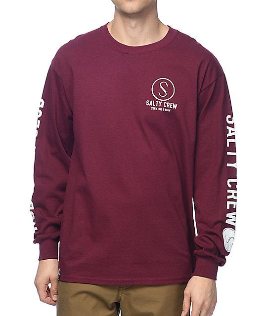 d9b9ac23 Salty Crew Ballast Burgundy Long Sleeve T-Shirt | Zumiez