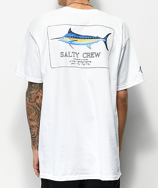 Salty Crew Blue Rogers White T-Shirt