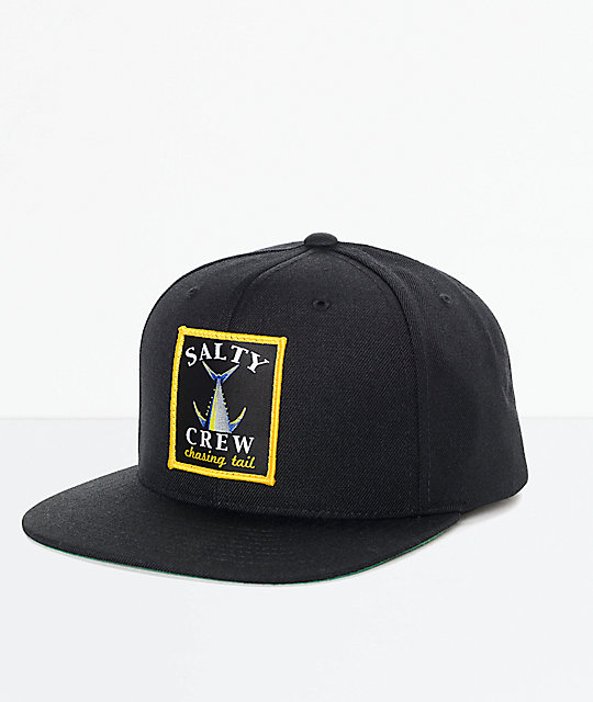 Salty Crew Chasing Tail Patch Black Snapback Hat