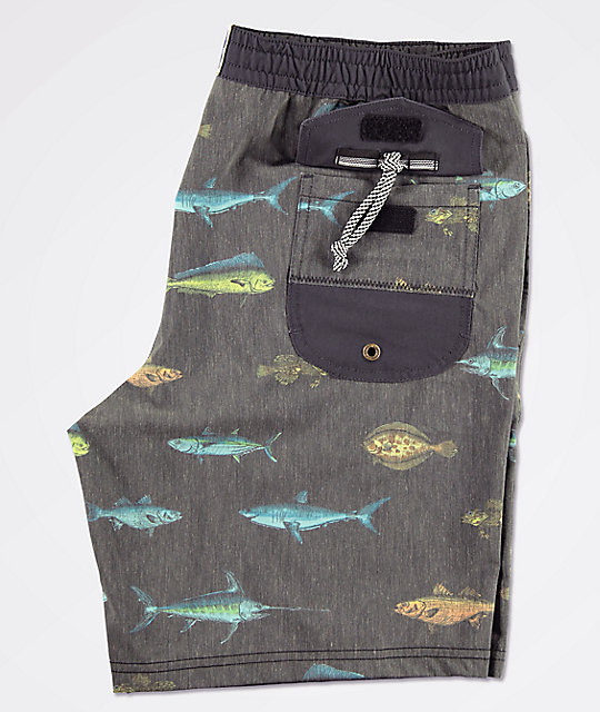 Salty Crew Deckhand Fish Printed Black Washed Board Shorts