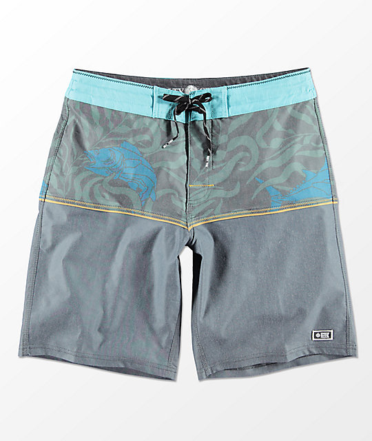 Salty Crew Off The Beach Print & Grey Board Shorts