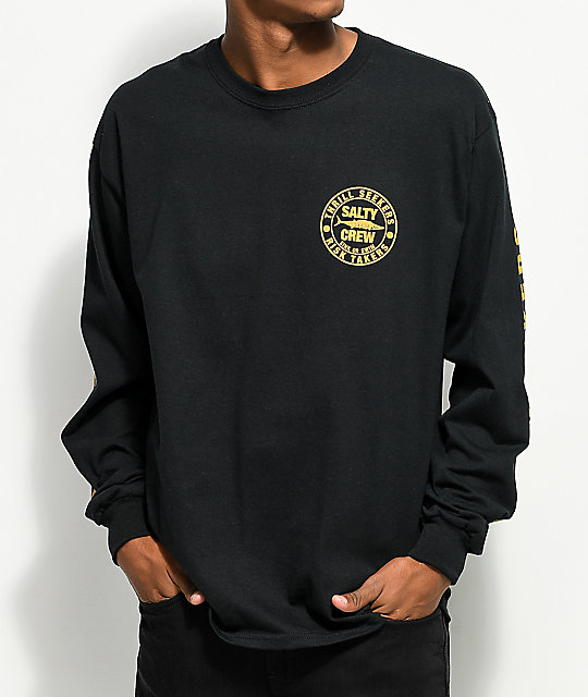 Salty Crew Ono Black & Gold Long Sleeve T-Shirt