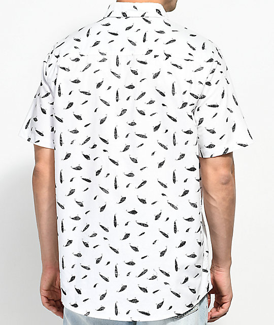 Salty Crew Popper Fish Print White Short Sleeve Button Up Shirt