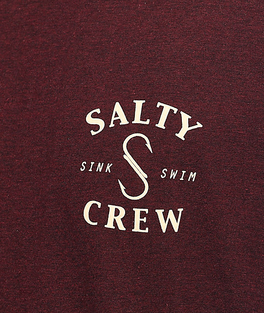 Salty Crew Shook Heather Burgundy T-Shirt